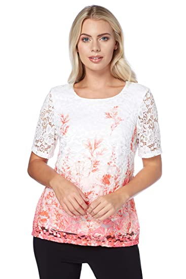 0236efb6525 Roman Originals Women Floral Lace Shell Top - Ladies Short Sleeve Ombre  Occasional Smart Going Out Summer Tunic Tops: Amazon.co.uk: Clothing