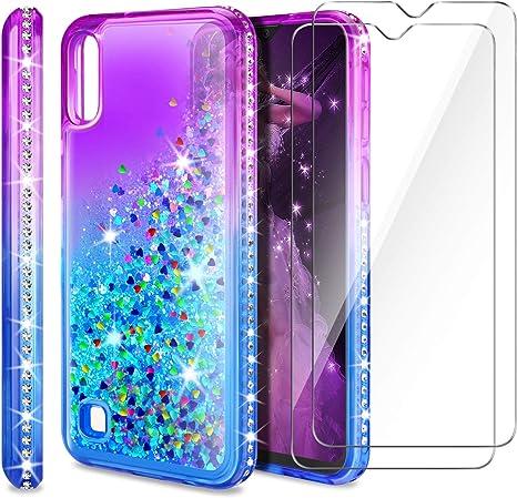 AROYI Coque Samsung Galaxy A10 Film Protection Écran [Pack de 2], Fille Personnalisé Liquide Paillette Dégradé Transparente Silicone TPU Antichoc ...