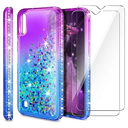 AROYI Funda Samsung Galaxy A10 + Protector de Pantalla en Cristal Templado [2 Pack], Purpurina Carcasa Silicona Protector TPU Capa Anti-arañazos Caso ...