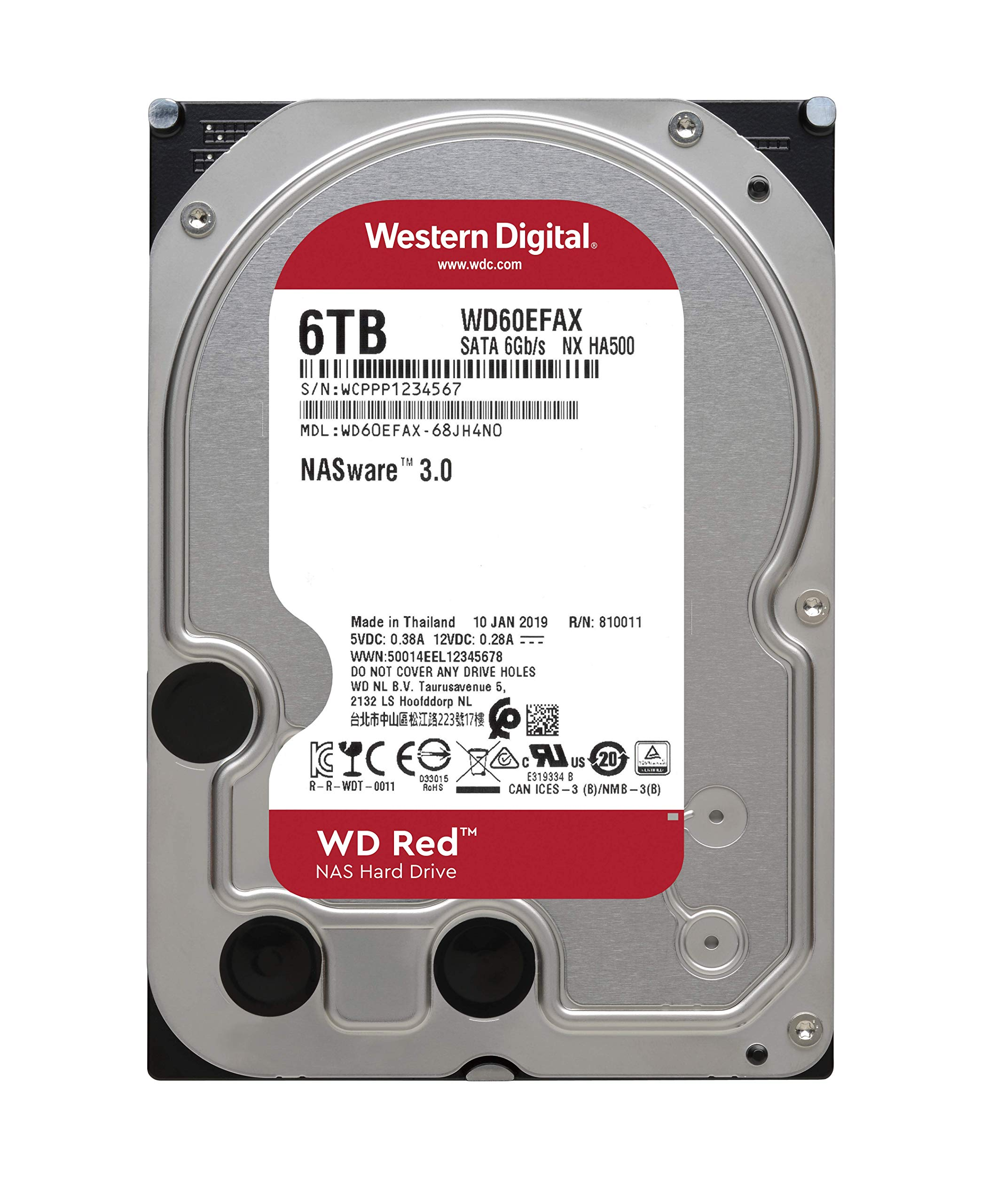 WD Red 6TB NAS Internal Hard Drive - 5400 RPM Class, SATA 6 GB/S, 256MB Cache, 3.5'' - WD60EFAX by Western Digital (Image #3)