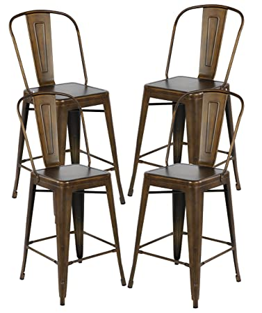 26 Inch Industrial Distressed Metal Counter Height Bar Stools With Backs  Set Of 4 Vintage Tolix