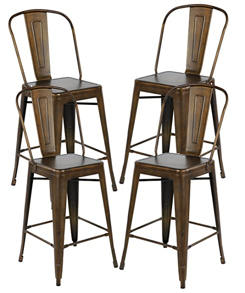 26 Inch Industrial Distressed Metal Counter Height Bar Stools with Backs Set of 4 Vintage Tolix  sc 1 st  Amazon.com & Amazon.com: 26 Inch Industrial Distressed Metal Counter Height Bar ... islam-shia.org