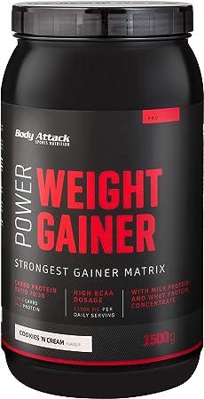 Body Attack Power Weight Gainer (aumento de peso), galletas y crema, 1,5 kg, 100% desarollo masa, carbohidrato- proteína en polvo para el aumento ...