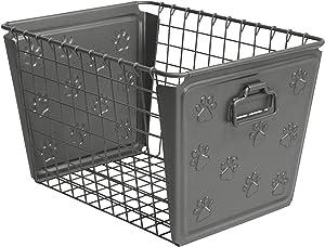 Spectrum Diversified Paws Macklin Basket Steel Storage Bin with Cute Pawprint Design, Pet Accessory Organizer with Rust-Resistant Finish, Cat & Dog Toy Organization & Storage, Medium, Industrial Gray