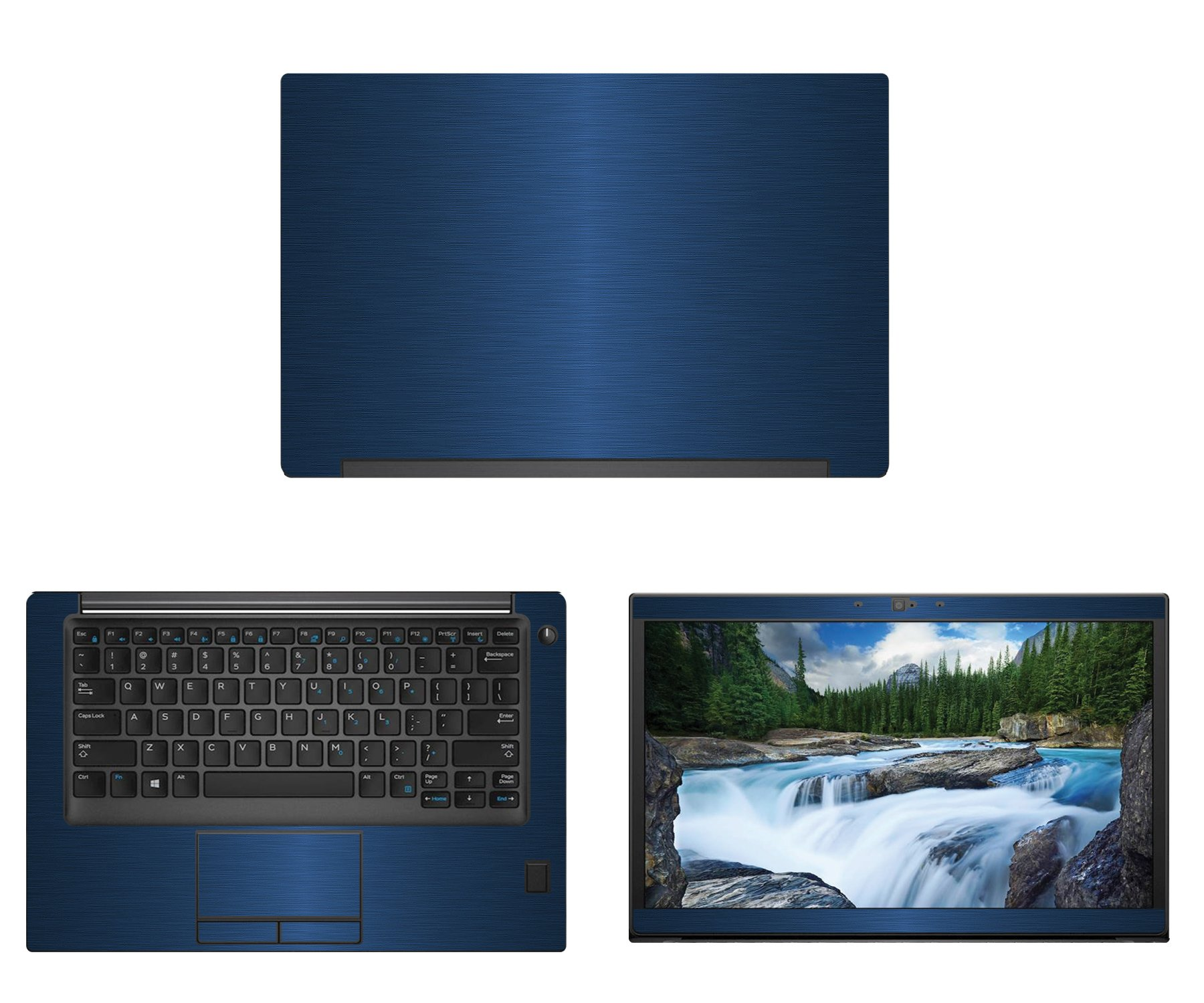 decalrus - Protective Decal for Dell Latitude 7490 (14'' Screen) Laptop Blue Texture Brushed Aluminum Skin case Cover wrap BAdellLatitude7490Blue