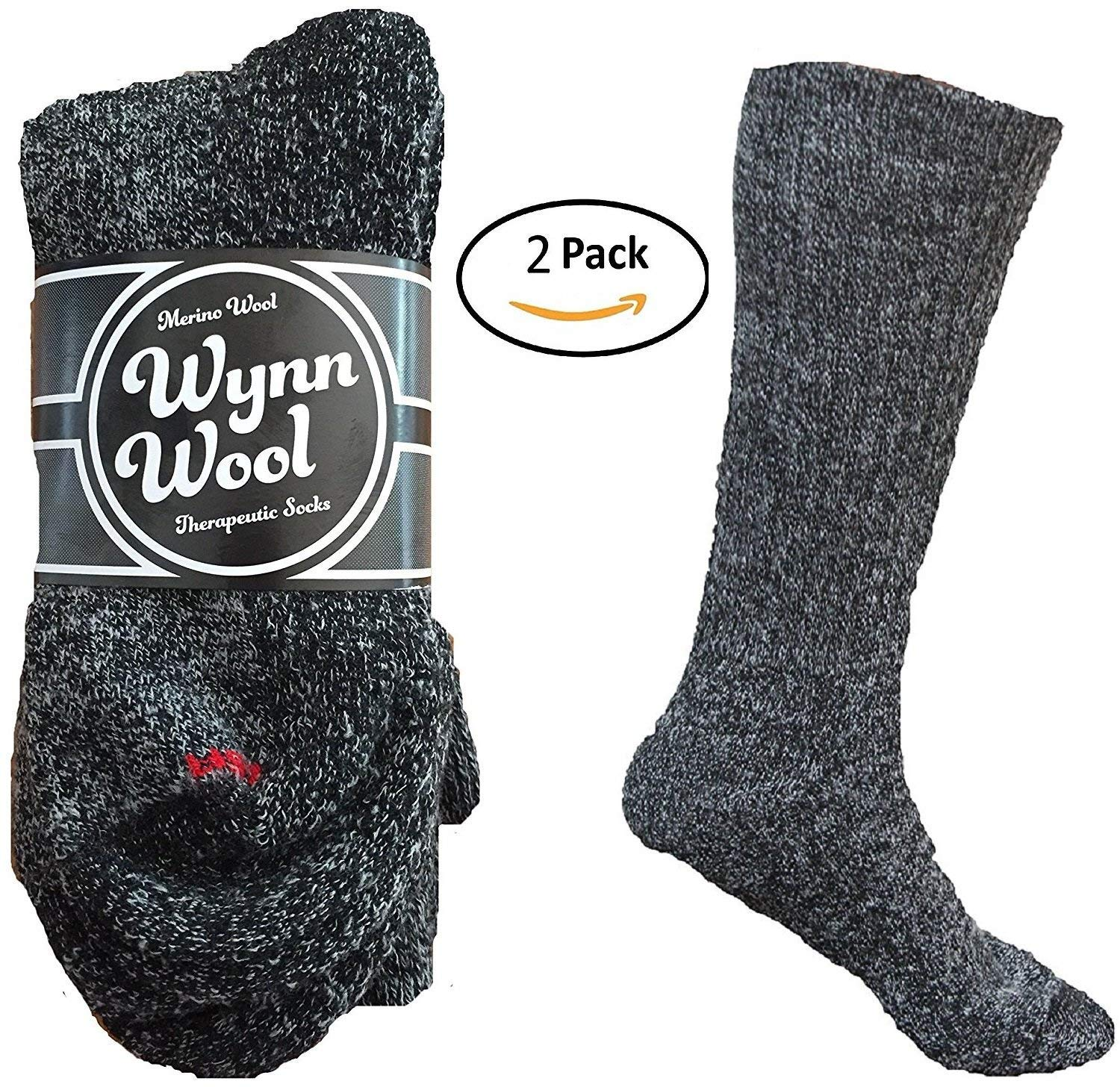 Diabetic Merino Wool Loose Fitting Socks 2 Pair Large Black by Wynn Wool