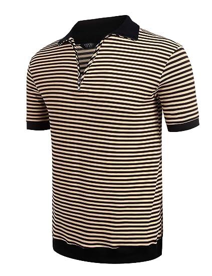d666eebee8ed Modfine Herren Poloshirt gestreift Basic Polo in Schwarz Braun Rot   Amazon.de  Bekleidung