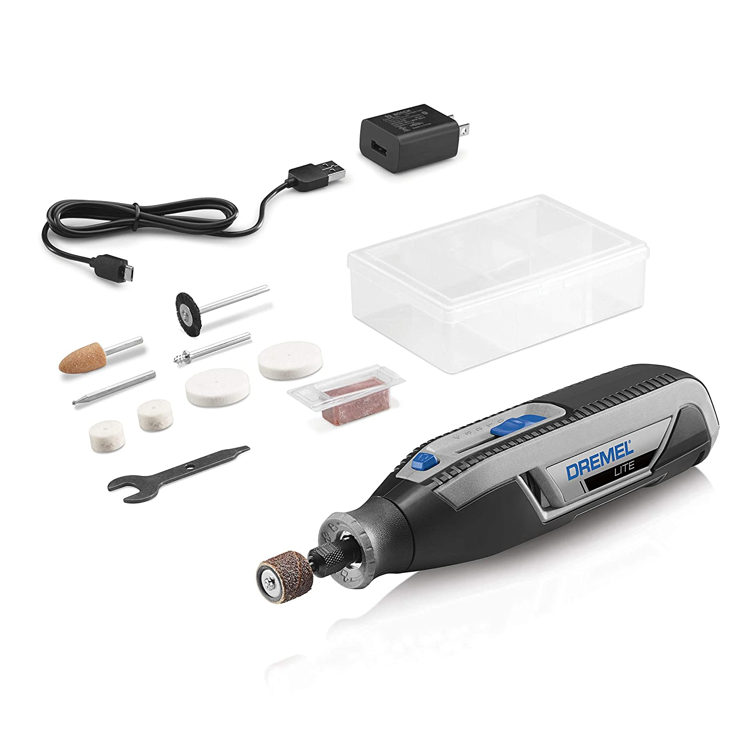 Dremel Lite 7760 N/10 4V Li-Ion Cordless Rotary Tool Variable Speed Multi-Purpose Rotary Tool Kit, USB Charging, Easy Accessory Changes - Perfect For Light-Duty DIY & Crafting