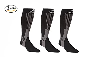 1e2cb5555d Mojo Recovery & Performance Compression Socks, 3 Pair Stockings, for Calf  Strains, Running