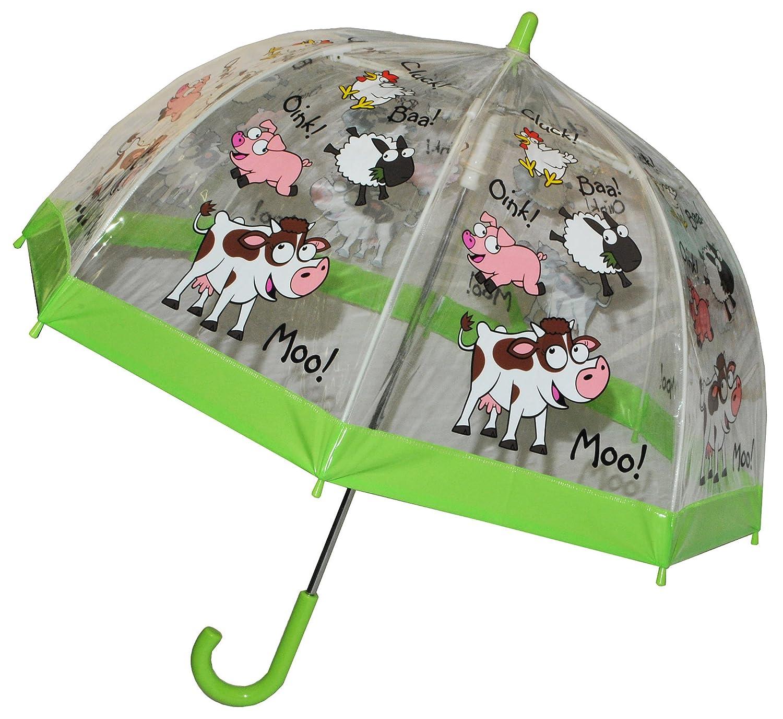 Regenschirm Schaf / Bauernhof Tiere - Kinderschirm transparent incl. Namen - Ø 70 cm - Kinder Stockschirm - für Mädchen Jungen Schirm Kinderregenschirm / Glockenschirm Tier Schafe Kuh durchsichtig & durchscheinend Kinder-land
