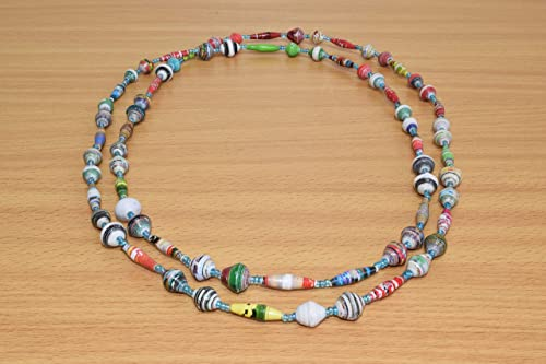 Amazon Com Handmade African Necklace Made Of Recycled Paper Beads Handmade In Uganda Multicolored Handmade