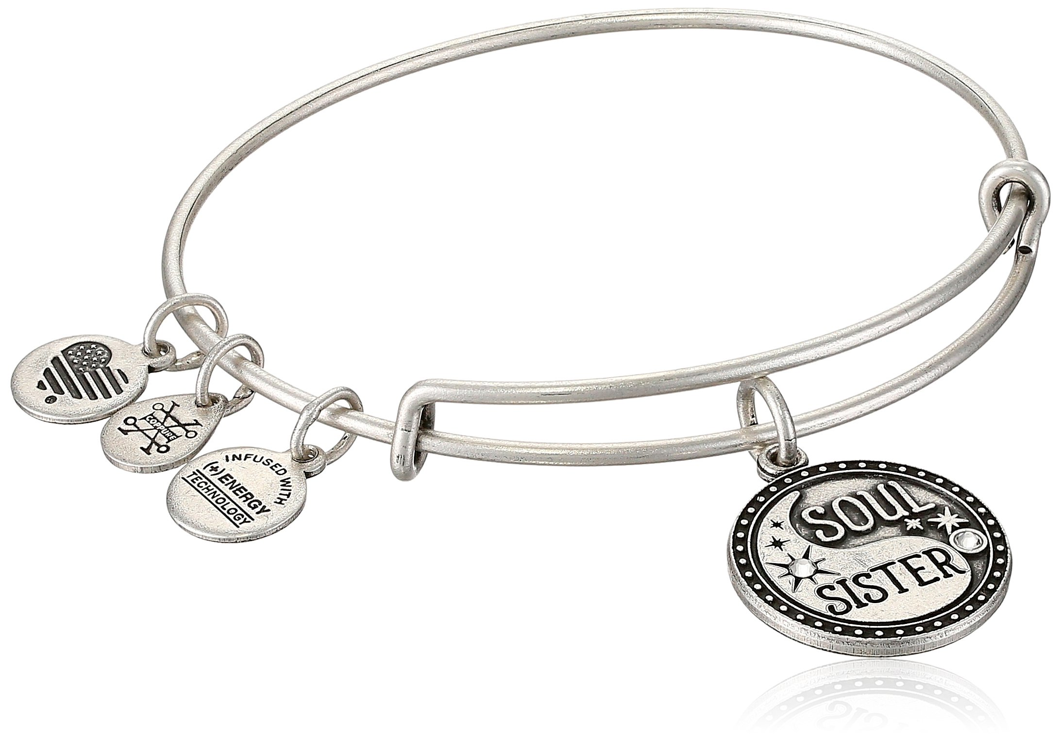 Alex and Ani Womens Soul Sister EWB Bangle Bracelet, Rafaelian Silver, Expandable