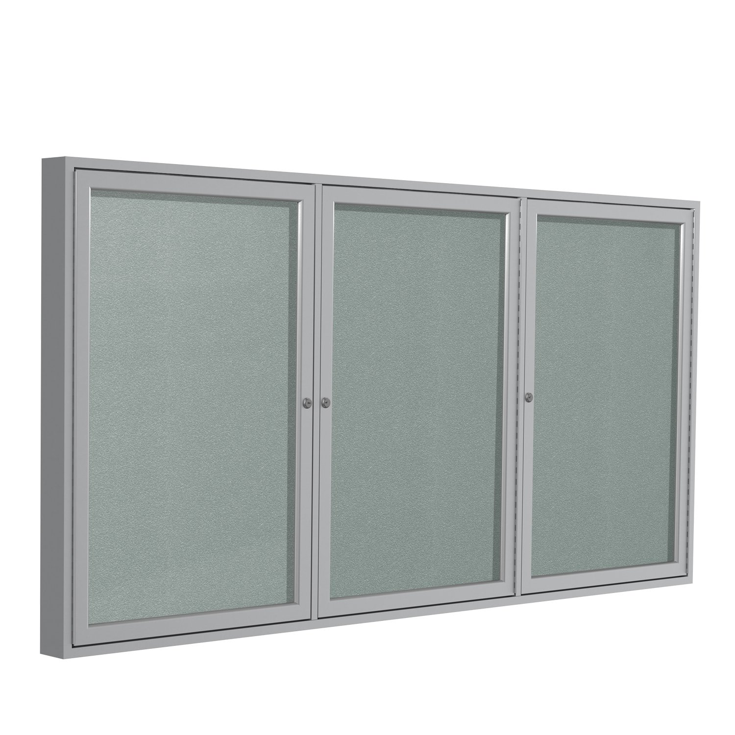 3 Door Outdoor Enclosed Bulletin Board Size: 4' H x 6' W, Frame Finish: Satin, Surface Color: Silver