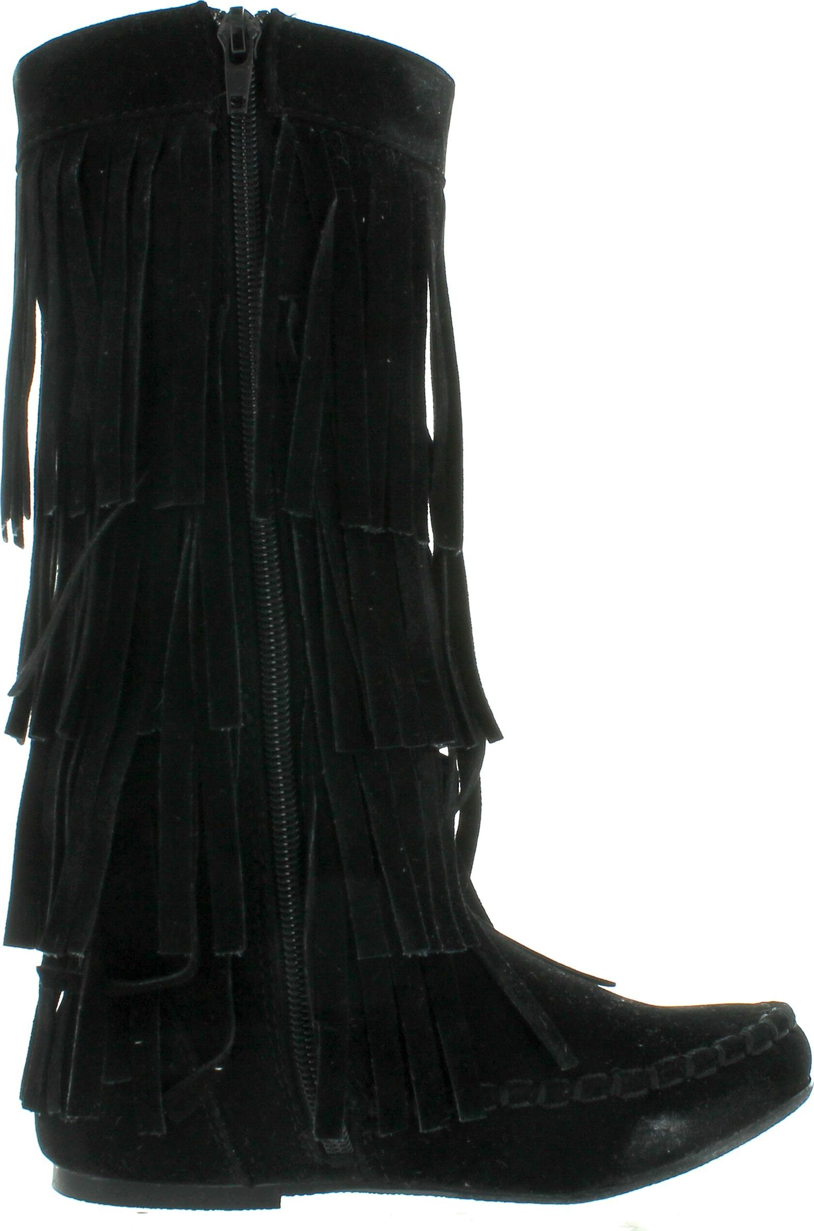 I LOVE KIDS Ava-18K Children's 3-Layers Fringe Moccasin Style Mid-Calf Boots,Black,13 by I LOVE KIDS (Image #2)