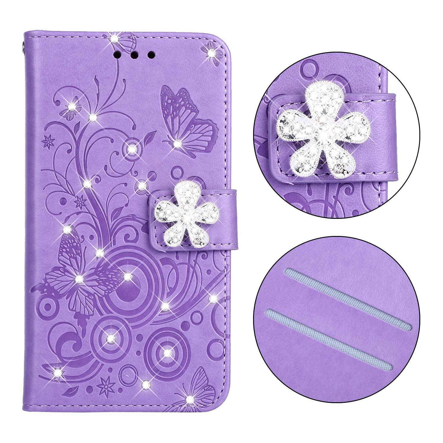 Diamond Strap Wallet Case for iPhone 11 Pro 5.8'' 2019,Aoucase Luxury 3D Crystal Flower Magnetic Bling Butterfly Print PU Leather Soft TPU Stand Flip Case with Black Dual-use Stylus - Purple by Aoucase