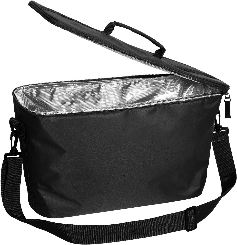 Hinza Nevera port/átil de color negro plegable con correa para el hombro y cremallera con dise/ño Swedish