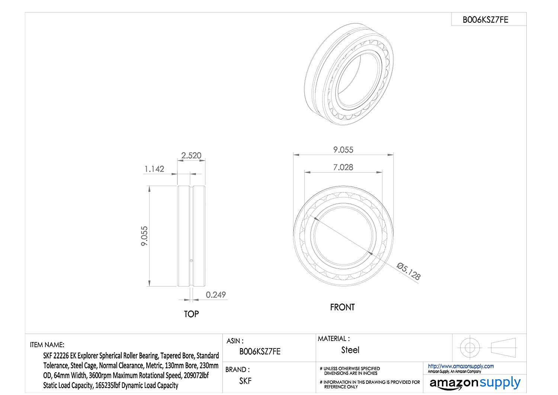 SKF 22211 EK Explorer Spherical Roller Bearing, Tapered Bore, Standard  Tolerance, Steel Cage, Normal Clearance, Metric, 55mm Bore, 100mm OD, 25mm  Width, ...