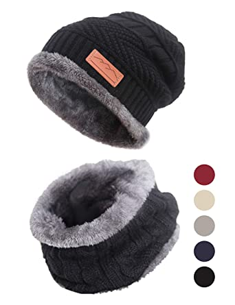 cc028955f6c Winter Men Knitted Beanie Hat Circle Scarf Set for Skiing Outdoors Sports  by DiaryLook  Amazon.co.uk  Clothing