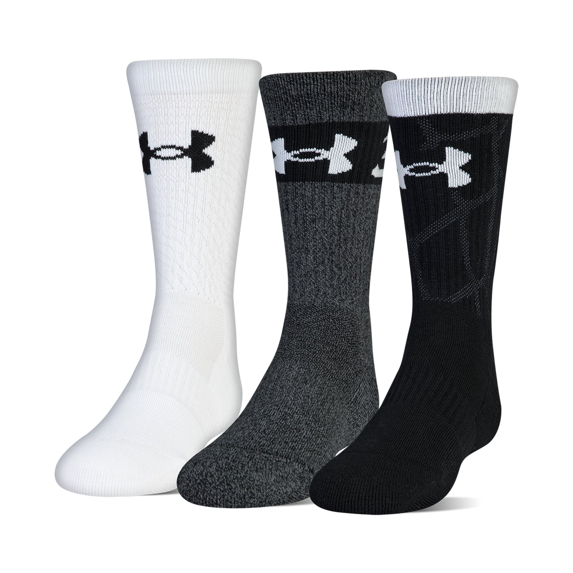 Under Armour Phenom Sc30 2.0 Crew Socks, 3 Pairs, Black Assorted, Youth Large by Under Armour