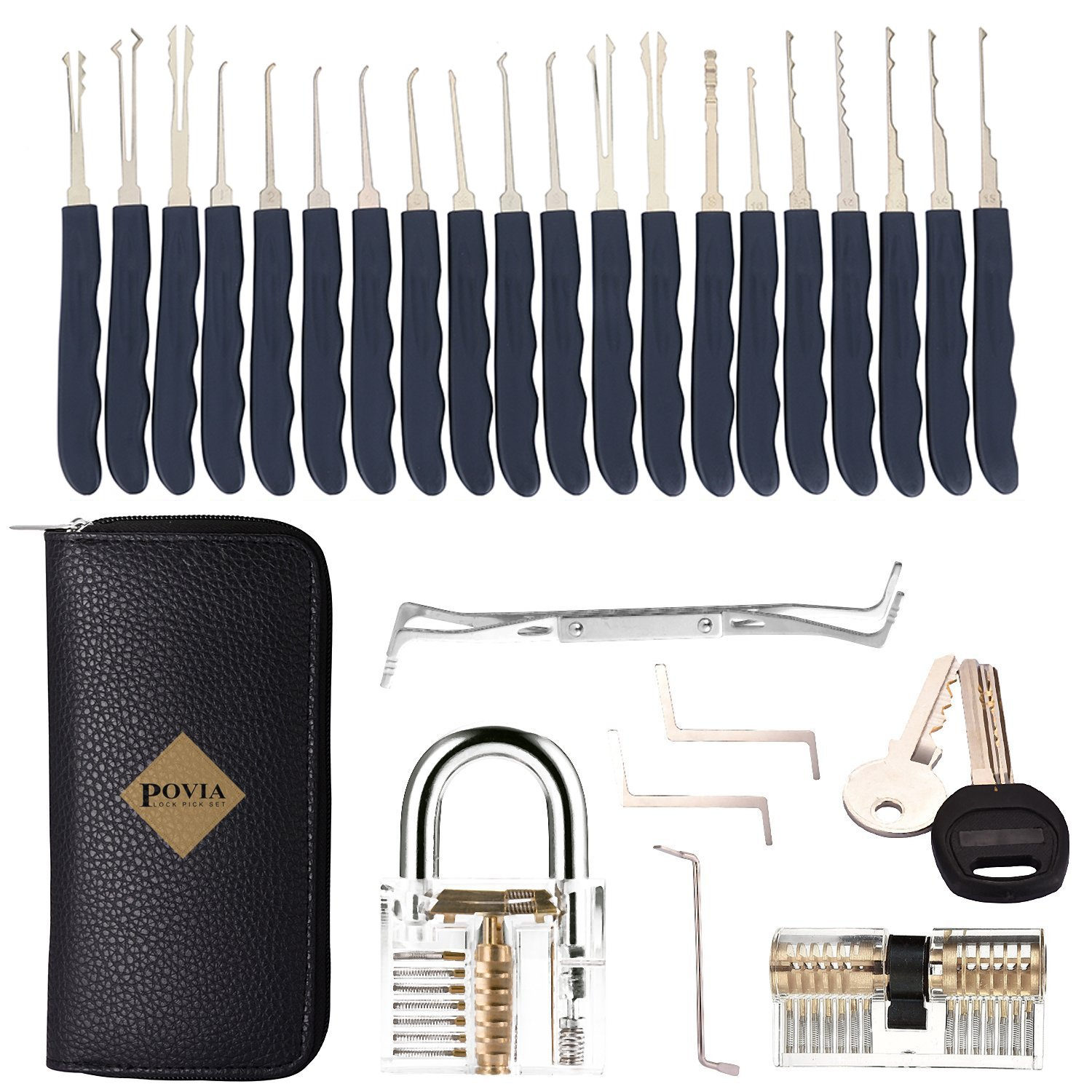 POVIA Lock Pick Set – 24 Pieces Lock Picking Tools with 2 Clear Training Locks for Beginners and Pro Locksmiths - A Transparent Practice Padlock and a Transparent Double Cylinder Lock – Carry Case