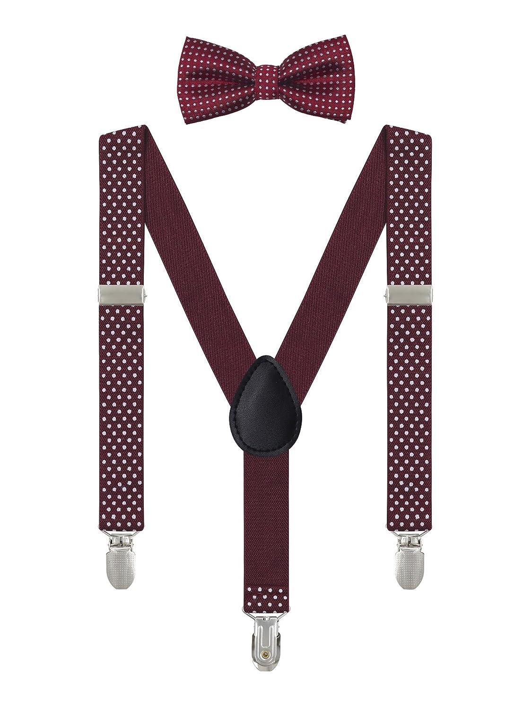 Irypulse Baby Kinder Polka Dots Hosenträger mit Fliege Set für 6 Monate-5 Jahre Jungen Mädchen, Hosenträger 3 Clips Elastischer verstellbarer Gürtel LJ093