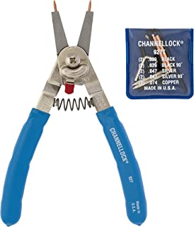 product image for Channellock 927 8-Inch Snap Ring Plier | Precision Circlip Retaining Ring Pliers | Includes 5 Pairs of Interchangeable Tips | Made in the USA