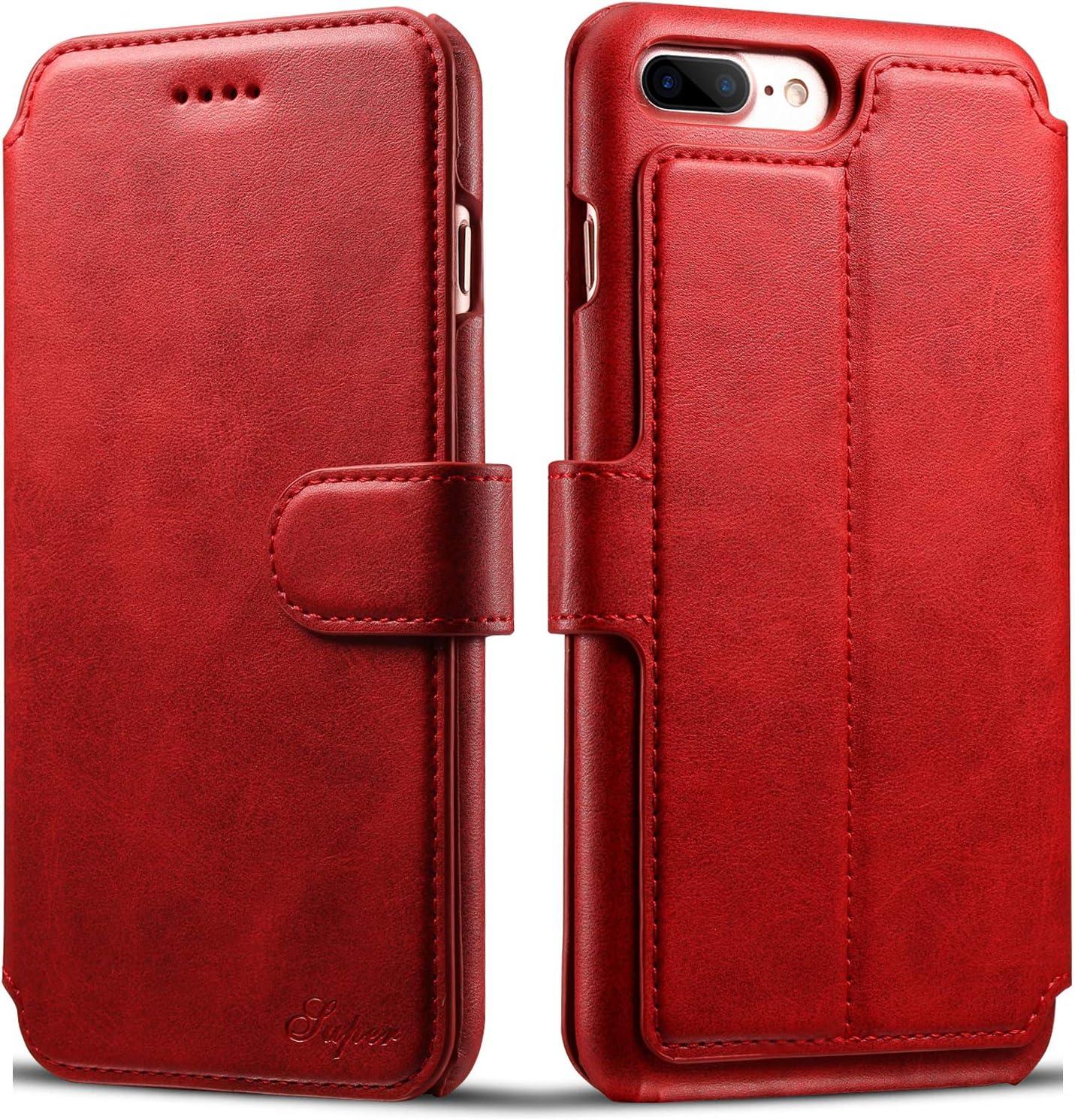 iPhone 7 Plus Case, iPhone 8 Plus Leather Wallet Case [Card Slot] [Kickstand View] [Magnetic Closure] Folio Flip Slim Cover (iPhone 7 Plus/8 Plus (5.5