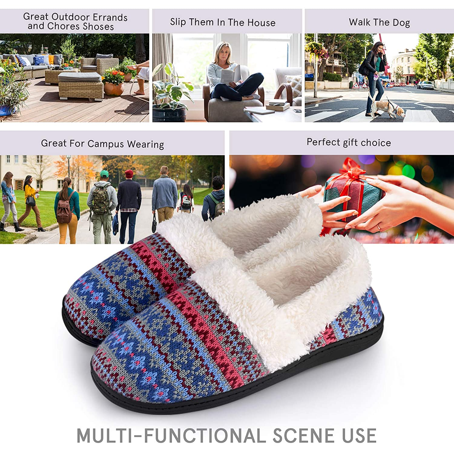 Womens Slippers Non-Slip with Memory Foam Slippers Fuzzy Wool-Like Plush Fleece Lined House Shoes Indoor//Outdoor Anti-Skid Rubber Sole