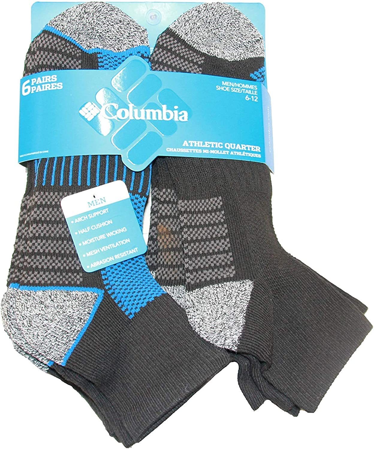 Columbia Low-Cut Mesh Top Arch Support Poly-Blend Socks 6 Pair, M10-13