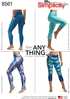 product image for Simplicity US8561AA AA Misses' and Women's Knit Leggings With Seam Variations, XS-XL