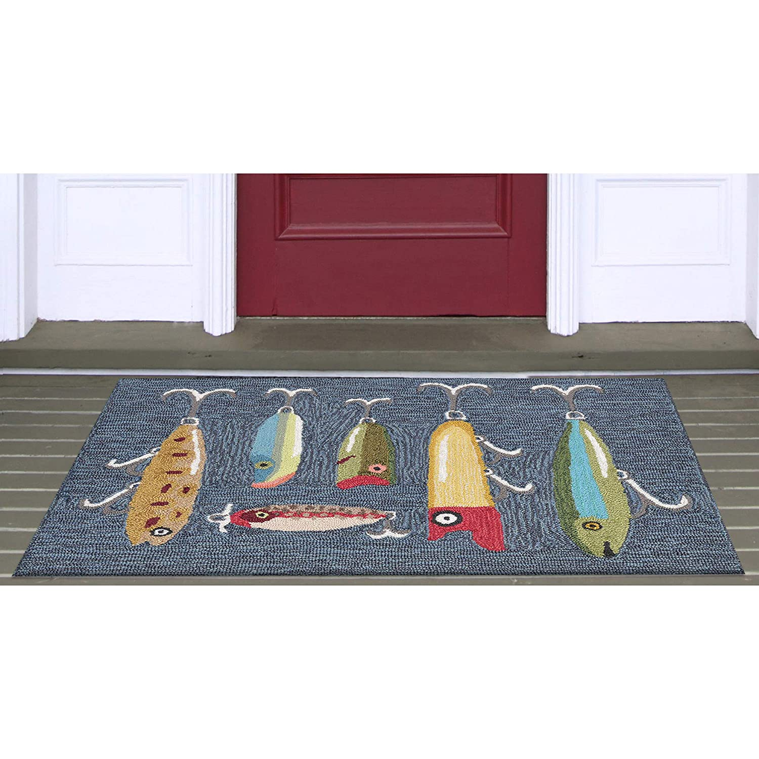 Liora Manne FTP34242047 2420//47 Front Porch Summer Fishing Playing Hooky Grey Indoor//Outdoor Rug 30 x 48,