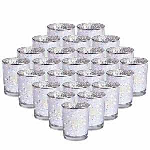 """24-Pack Mercury Votive Candle Holders Bulk, Speckled Sliver Mercury Candle Holders Perfect Decor for Home, Wedding,Christmas Prom, Party - 2.67"""" (H)"""