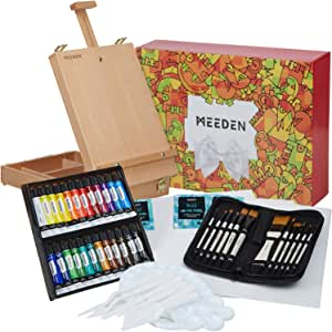 MEEDEN 47 Pcs Acrylic Painting Set - Solid Beech-Wood Studio Sketch Box Easel, 24×12ML Acrylic Paints, Canvas Panels, Acrylic Paintbrushes,
