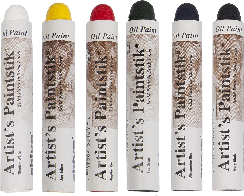 Jack Richeson 121302 Shiva Oil Paintstik, Basic Colors, Set of 6