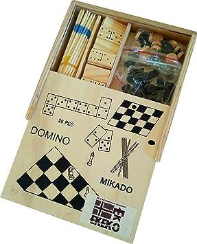 Ekeko Gambler, 4 Juegos en una Caja de Madera. Ajedrez, Damas, Domino y Mikado. Ekeko Gambler, 4 Sets in a Box. Chess, Checkers, Dominoes and Mikado.: Amazon.es: Juguetes y juegos