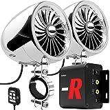 """GoHawk TJ4-R Radio Amplifier 4"""" Full Range Waterproof Bluetooth Motorcycle Stereo Speakers 1 to 1.5 in. Handlebar Mount Audio"""