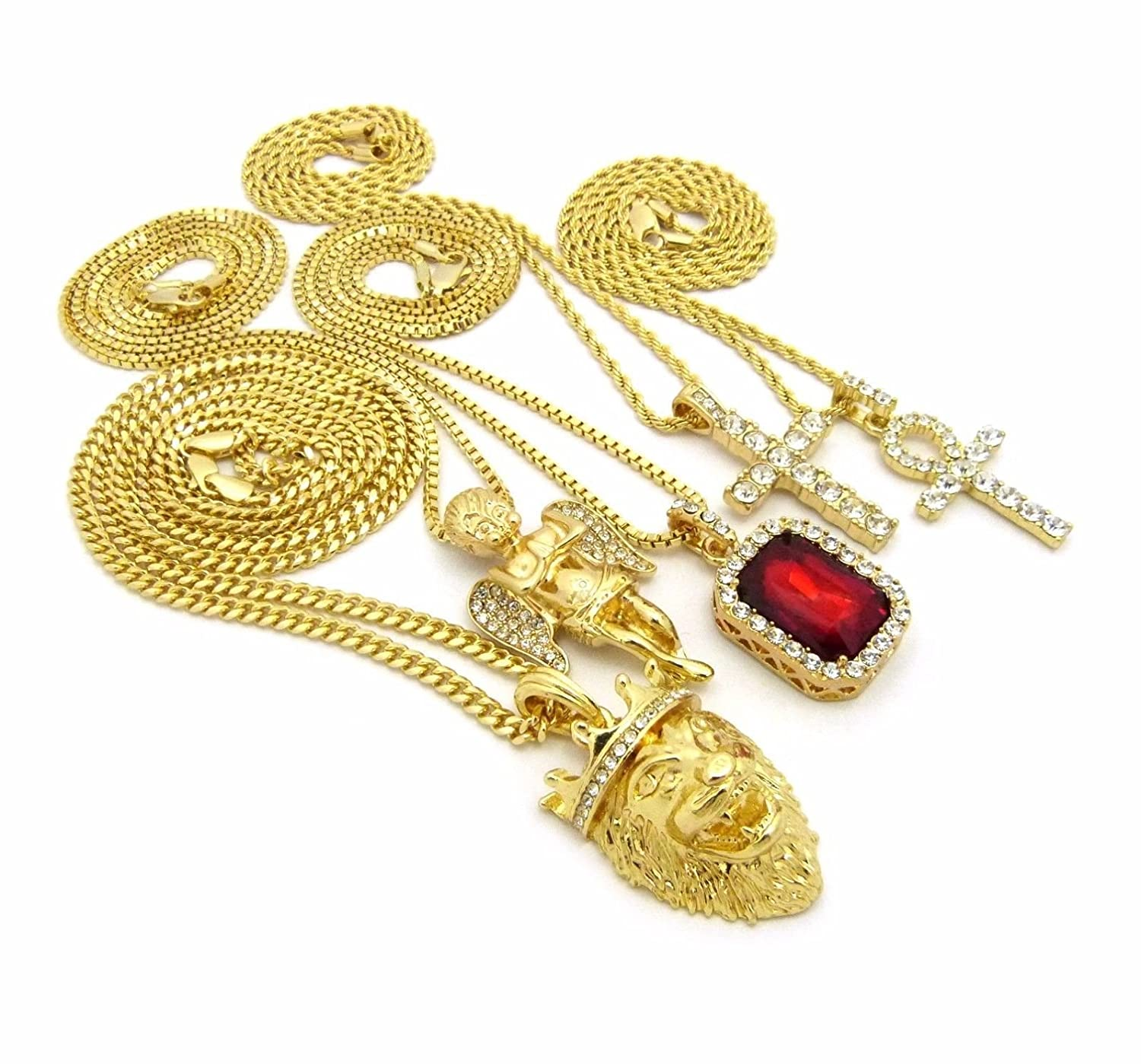 Shiny Jewelers USA Mens ICED Out King Lion Angel,GEM RED Ruby Stone ANKH Cross Box Cuban Chain Necklace Set of 5