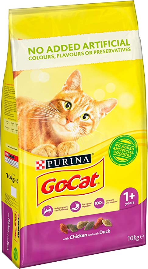 Go Cat - Comida Seca para Gatos de Pollo y Pato, 10 kg: Amazon.es: Productos para mascotas