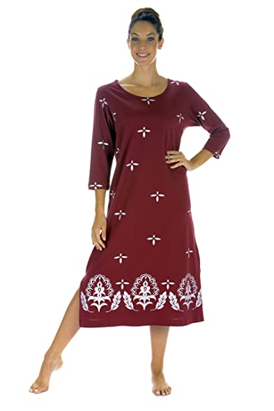 M Mac S Lotus Border Scoop Neck Mid Calf Length Dress In Burgundy