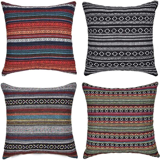Gspirit 4 Pack Bohemio Retro Raya Algodón Mezcla Lino Throw Pillow Case Funda de Almohada para Cojín 45x45 cm: Amazon.es: Hogar