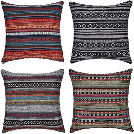 Gspirit 4 Pack Bohemio Retro Raya Algodón Mezcla Lino Throw Pillow Case Funda de Almohada para Cojín 45x45 cm: Amazon.es: Hogar