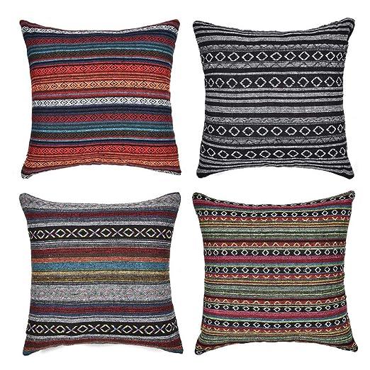 Gspirit 4 Pack Bohemio Retro Raya Algodón Mezcla Lino Throw Pillow Case Funda de Almohada para Cojín 45x45 cm