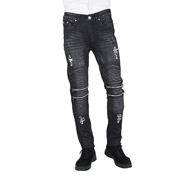 By Neki Mens Black Ripped Zip Knee Detail Distressed Jeans (36)