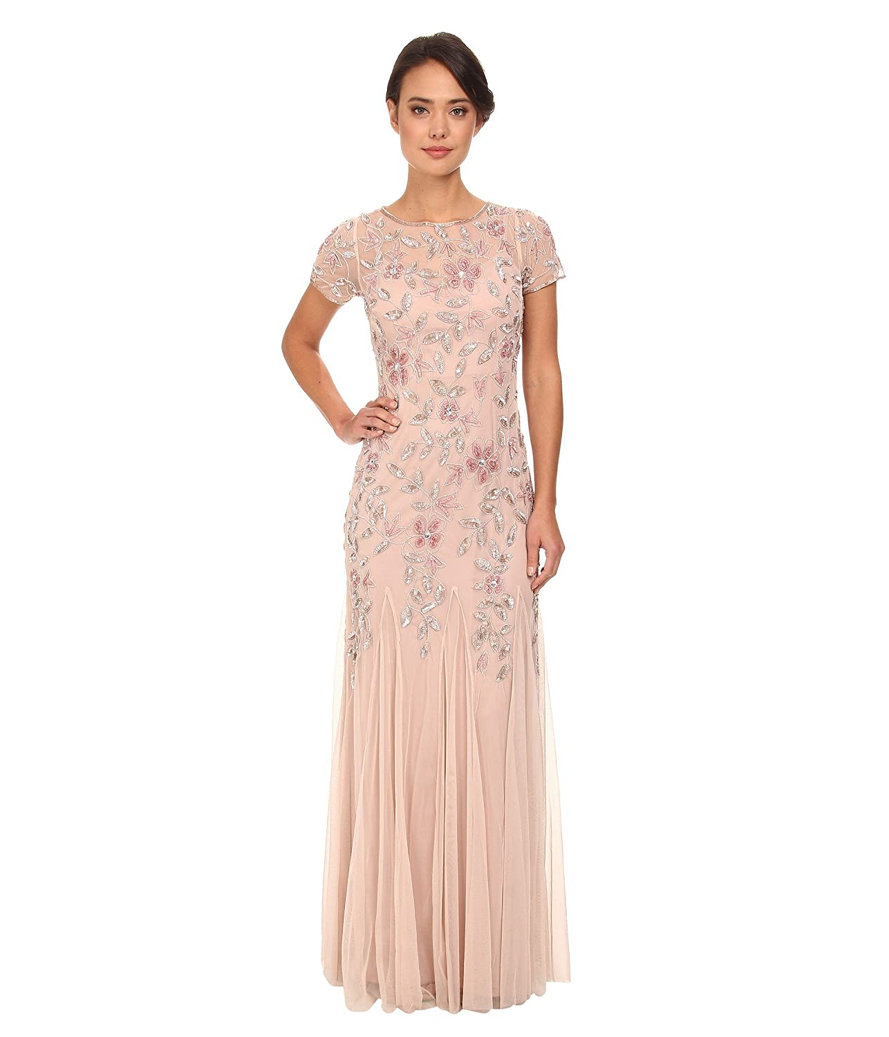 bluesh Adrianna Papell Women's Floral Beaded Godet Gown