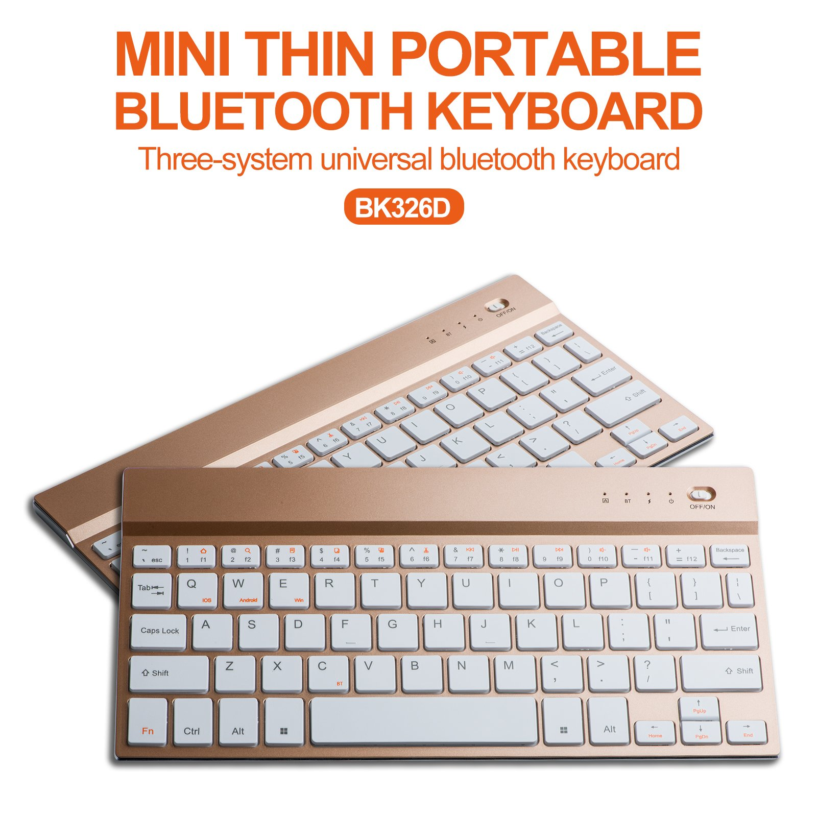 Mini Bluetooth Keyboard, Wireless Keyboard Ultra-Slim 4mm Portable Bluetooth Keyboard with Aluminum Alloy Base for iPad, Galaxy Tabs (Gold)