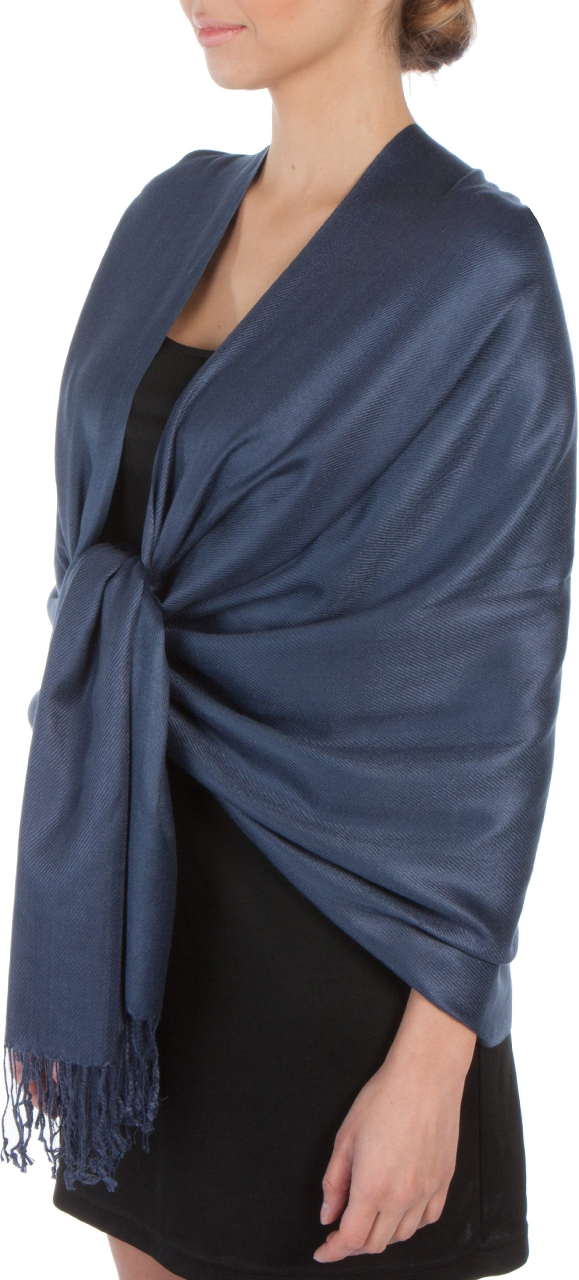Sakkas Large Soft Silky Pashmina Shawl Wrap Scarf Stole in Solid Colors - Navy Blue