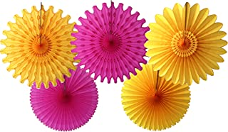 product image for 5-Piece Tissue Paper Fans, Cerise Gold, 13-18 Inch