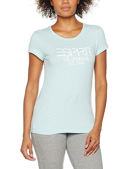 017ei1k039-Frontprint, T-Shirt Femme, Bleu (Light Turquoise 2 481), 38 (Taille Fabricant: Medium)Esprit
