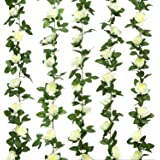 Jinway 2PCS(16FT) Fake Rose Vine Garland Artificial Flowers plants for Hotel Wedding Home Party Garden Craft Art Decor (white)
