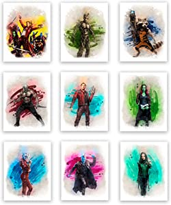 Guardians of The Galaxy Superhero Watercolor Art Prints (Unframed) | Great Gift Set of 9 (8x10) | Perfect for Boys Room Decor
